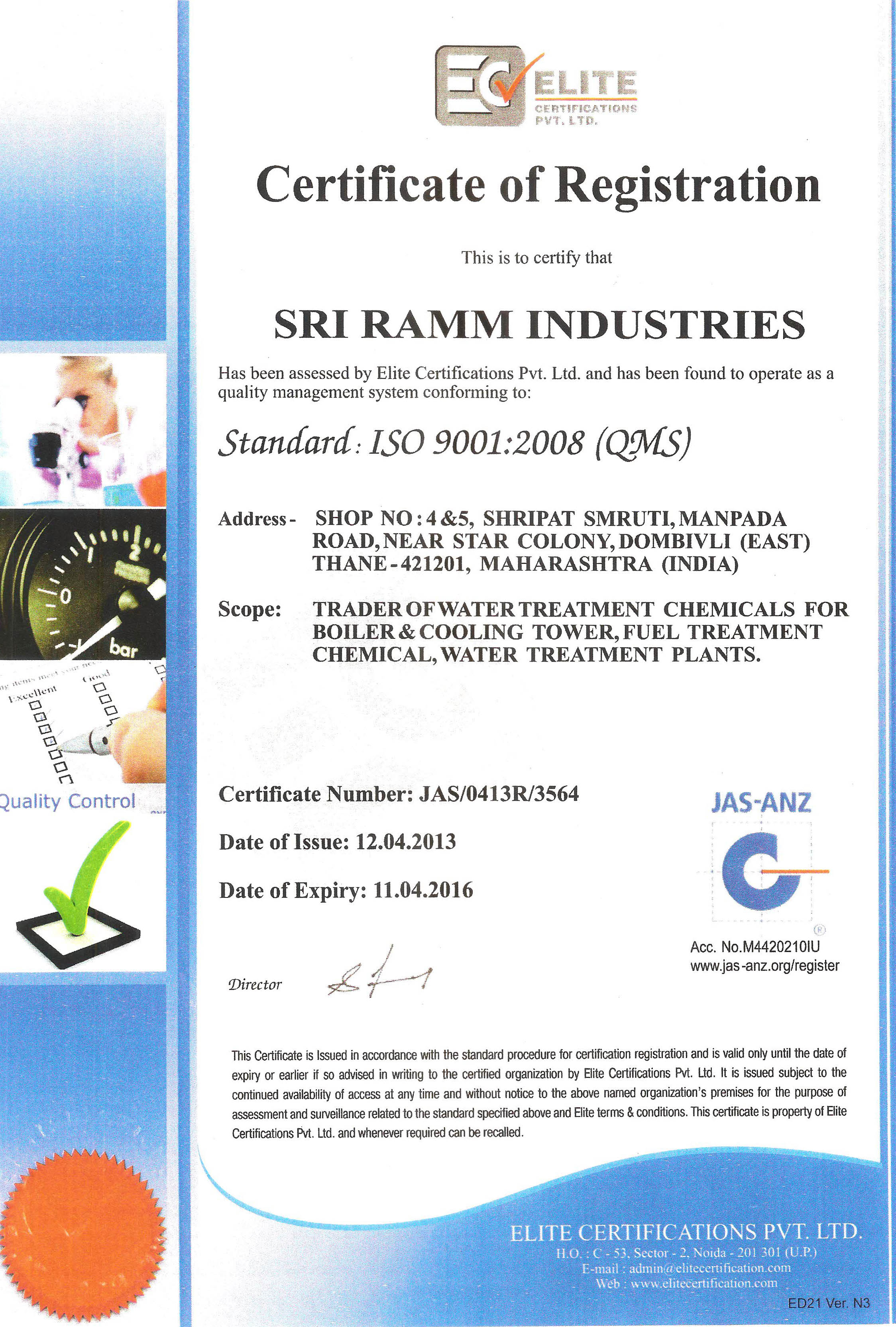 Sri Ramm Industries is ISO 9001 Certified